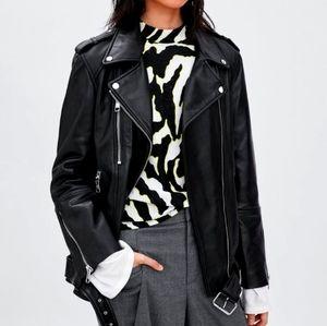 Zara trafaluc size large biker faux leather jacket